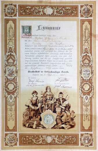 Výuční list Tomáše Štefana z roku 1898.