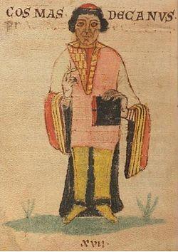 Obr. 1. Kronikář Kosmas (Kosmova Kronika, podle Wikipedie)